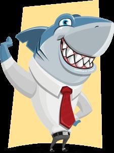 imagen de tiburón vestido con camisa y corbata
